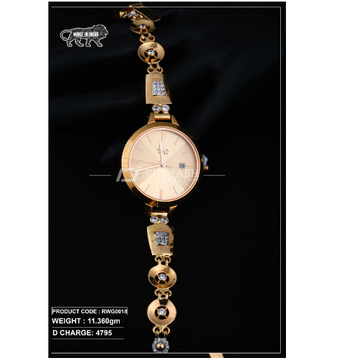 18 carat gold ladies rose gold watch titan raga rwg0018