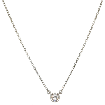 925 Sterling Silver Solitaire Diamond Chain Necklace MGA - CHS1821