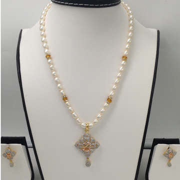 White And Yellow CZ Pendent Set With OvalPearls Mala JPS0010