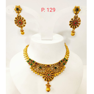 Antique and choker kundan with emerald and ruby stone necklace set 1322