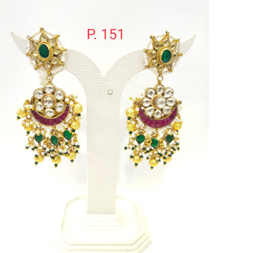 Flower work Green & Pink stone kundan with Gold Beads Earring 1540
