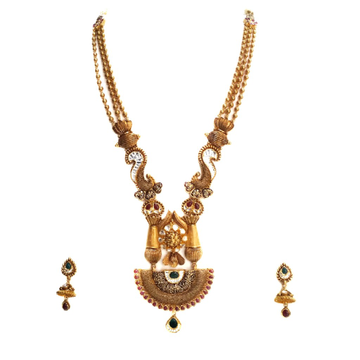 916 Gold Antique Rajwadi Necklace With jumar buti MGA - GLS077