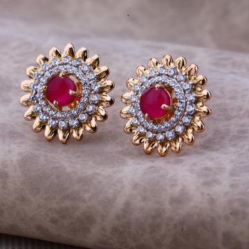 Ladies 76 Rose Gold Designer Single Stone Earring -RE66