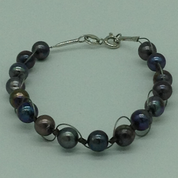 Grey RoundPearls 1 Layers Wire BraceletJBG0192