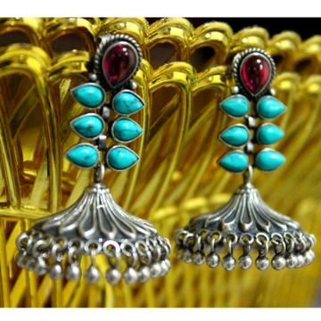 925 Silver Fancy Color Stone Earring VJ-E004 by