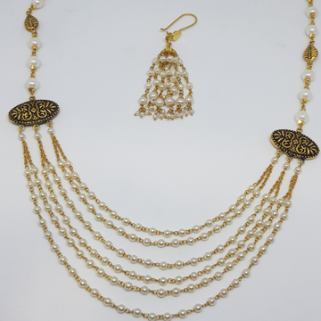 22KT Gold Six Lines Moti Mala With Oxides Pendent And Zumkha