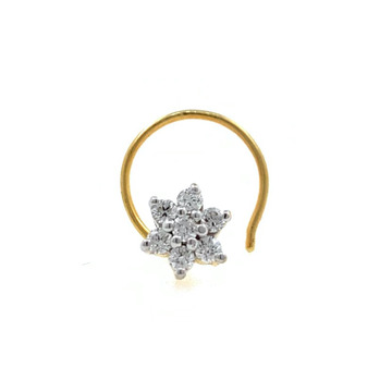 18kt / 750 yellow gold fancy nose pin in diamond 9...