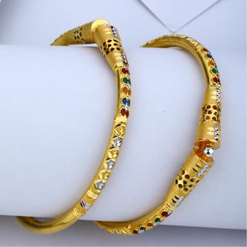 22KT Gold Colorful Meenakari Kadli Bangle