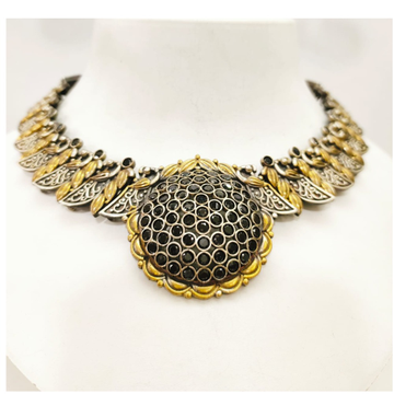 Antique oxidised silver with gold tone & black stone choker set 1646