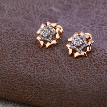 18ct Rose Gold Classic Cz Earring RE68