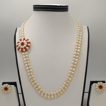 Red CZ And Pearls BroachSet With 2Line ButtonJali Pearls Mala JPS0188