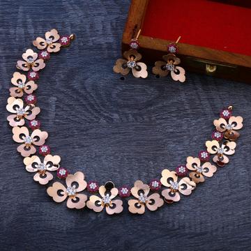 18CT Rose Gold Flower Design Necklace Set RN90