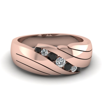 22kt gold, black and white colored diamond ring for men jkr002