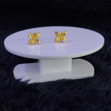 22KT/916 Yellow Gold Fleur Flower Earrings For Women