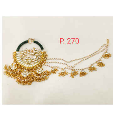 Bridal Gold plated kundan nose Ring with 3 Pearl chain 1722
