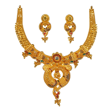 22K Gold Kalkatti Designer Necklace Set MGA - GN0094