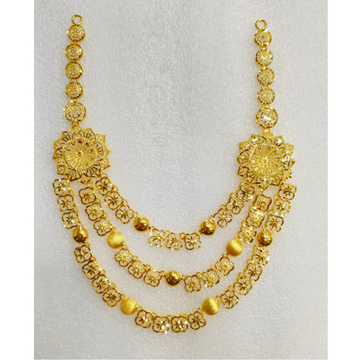916 Gold Fancy Flower Design 3 Layer Necklace MJ-N003