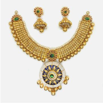 916 Gold Antique Bridal Necklace Set RHJ-6041