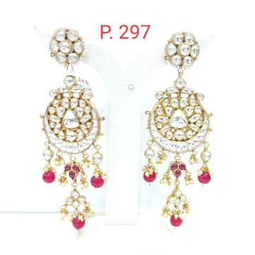 Kundan work with hanging ruby style earrings for women  1550
