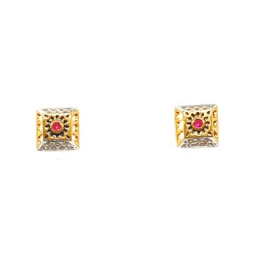 22K Gold Square Shaped Earrings MGA - BTG0282