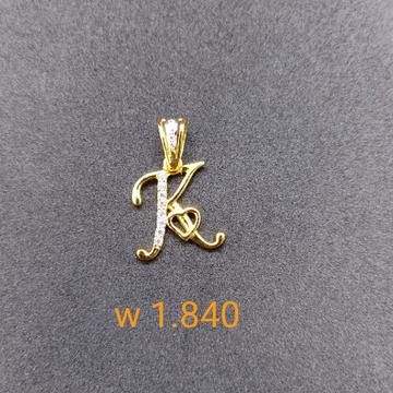 18 kt gold c z pendant
