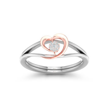 18 kt, White gold with rose gold heart ring JKR0465