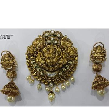 916 gold antique temple pendant set