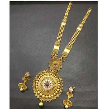 916 Gold Antique Long Necklace Set KG-N008 by Kundan