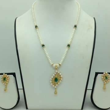 White,GreenCZPendentSet With 1Line FlatPearls...