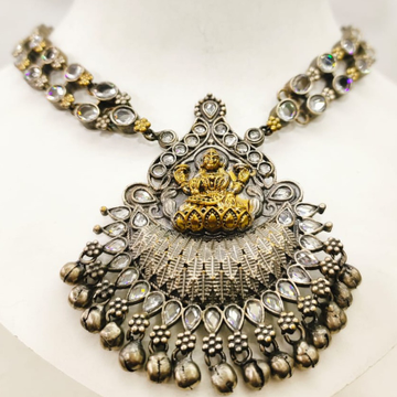 Temple Oxidised Silver Jewel choker with kundan work necklace set 1649