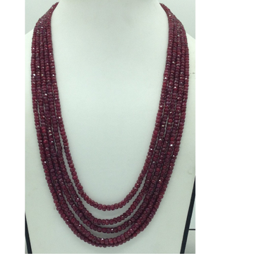 Natural Red RubyRound Faceted Beeds 5Layers Neck...