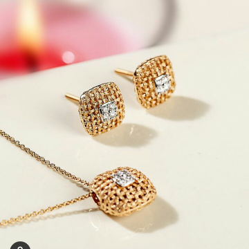 18k Rose Gold pendant  chain by