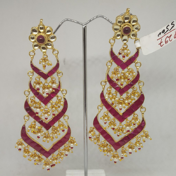 Pink Stone Chand Bali Earrings SJ-ER001