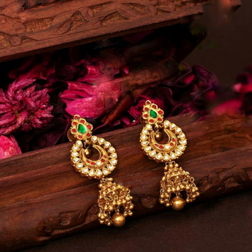 22KT/ 916 Gold antique bridle Jhumka earrings for... by