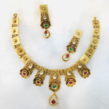 916 Gold Antique Bridal Necklace Set RHJ-5484