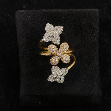 Three Flower Diamond Ring by