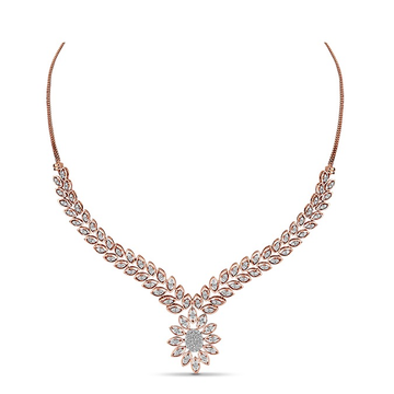 22kt Gold And Diamond Studded Leafy Curve Design Necklace JKN010