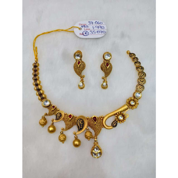 22kt gold antique necklace set sj - an013