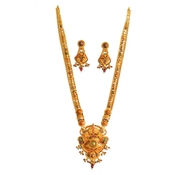 916KDM Long Meenakari Flower Shaped Necklace Set MGA - GLS043
