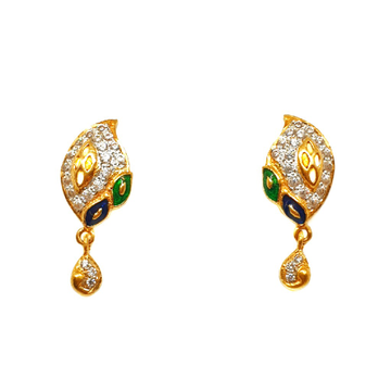 22K Gold Meenakari Earrings MGA - BTG0093