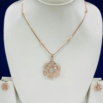 18KT Rose Gold Flower Design Pendant Set by