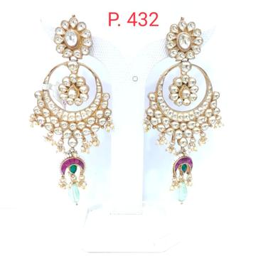 Kundan work with hanging sky blue stone & moon style earrings for women  1551