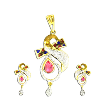 22KT Gold Fancy Color stone Pendant Set SO-PS003