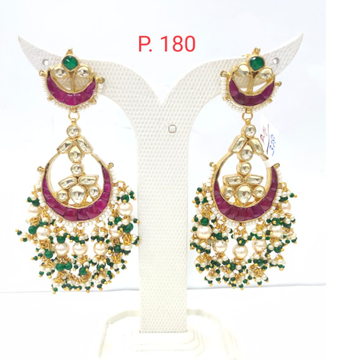 Wedding Gold plated pink stone kundan with hanging pearl earring 1542
