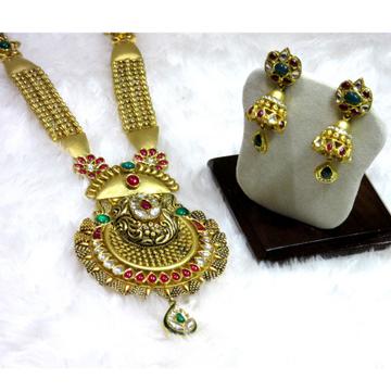 Long traditional jadtar necklace set