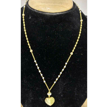 916 Vertical Gold Long Heart Shape Pendant Mala
