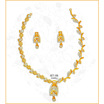 22KT Gold Stylish CZ Necklace Set-106