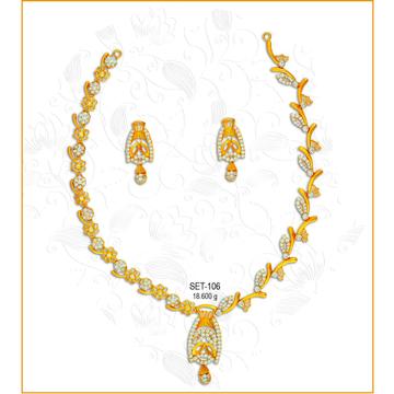 22KT Gold Stylish CZ Necklace Set-106