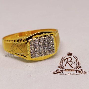 22 Carat gold gents square diamonds ring RH-GR907