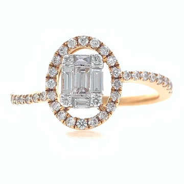 18kt / 750 rose gold solitaire look classic diamond ladies ring 9lr109